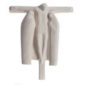 Baixo-relevo Crucificação estilizada argila branca 40 cm s1