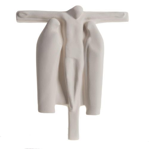 Baixo-relevo Crucificação estilizada argila branca 40 cm 1