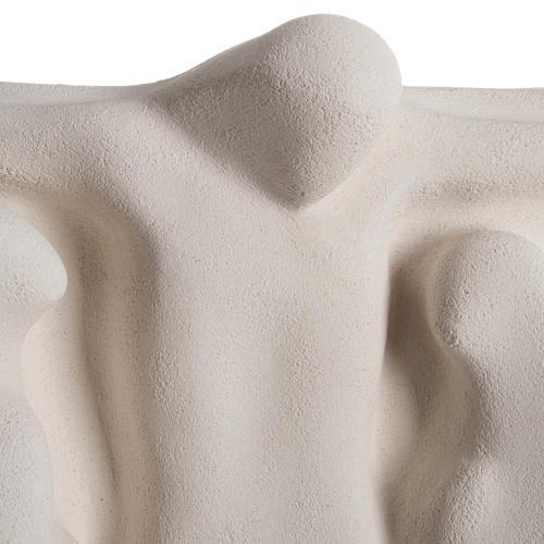 Baixo-relevo Crucificação estilizada argila branca 40 cm 2