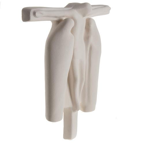 Baixo-relevo Crucificação estilizada argila branca 40 cm 5
