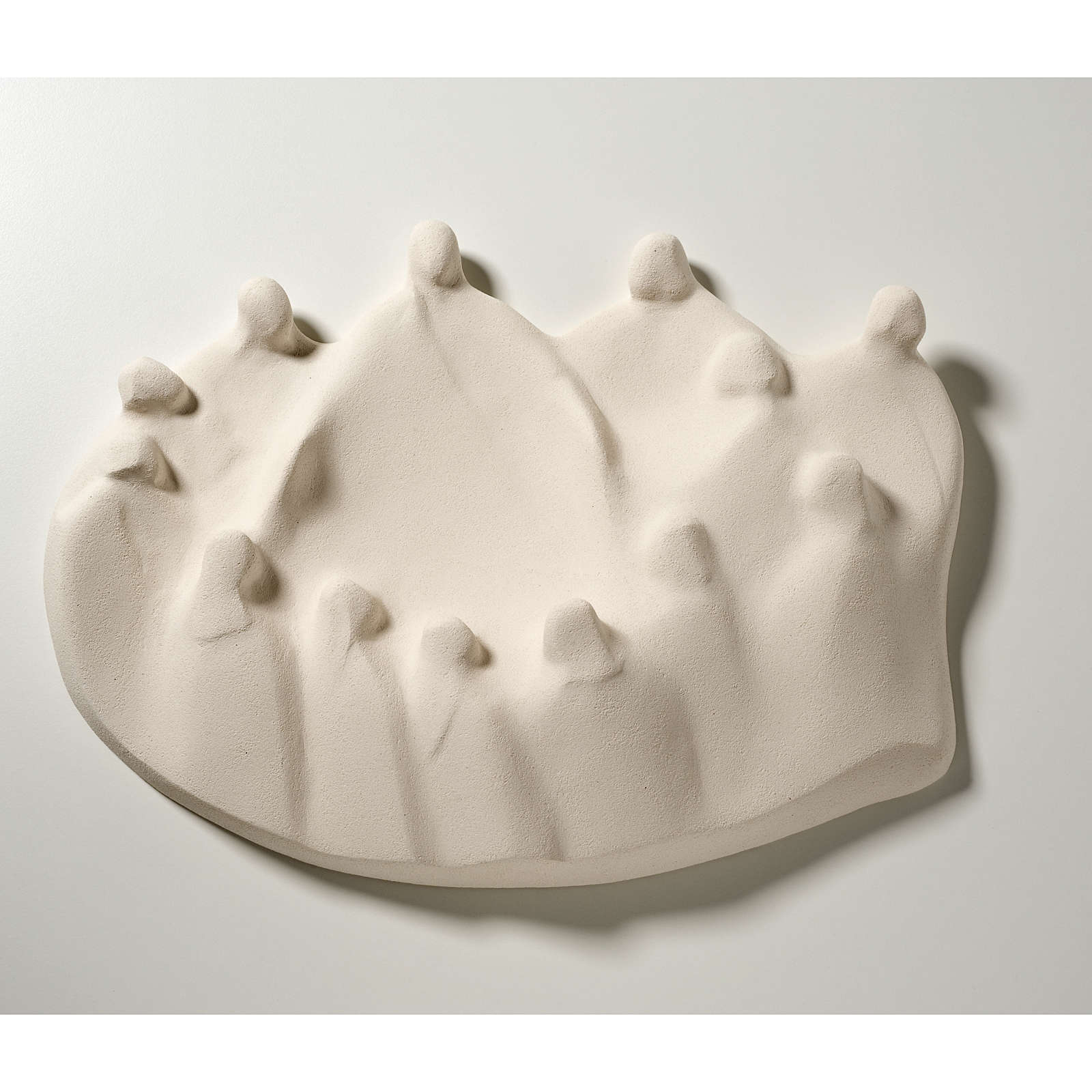 Baixo-relevo Última Ceia estilizada argila branca 40 cm 4