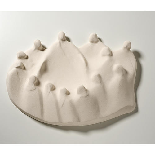 Baixo-relevo Última Ceia estilizada argila branca 40 cm 1