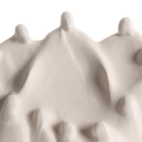 Baixo-relevo Última Ceia estilizada argila branca 40 cm 3
