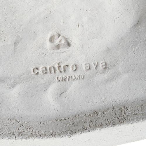 Baixo-relevo Última Ceia estilizada argila branca 40 cm 5