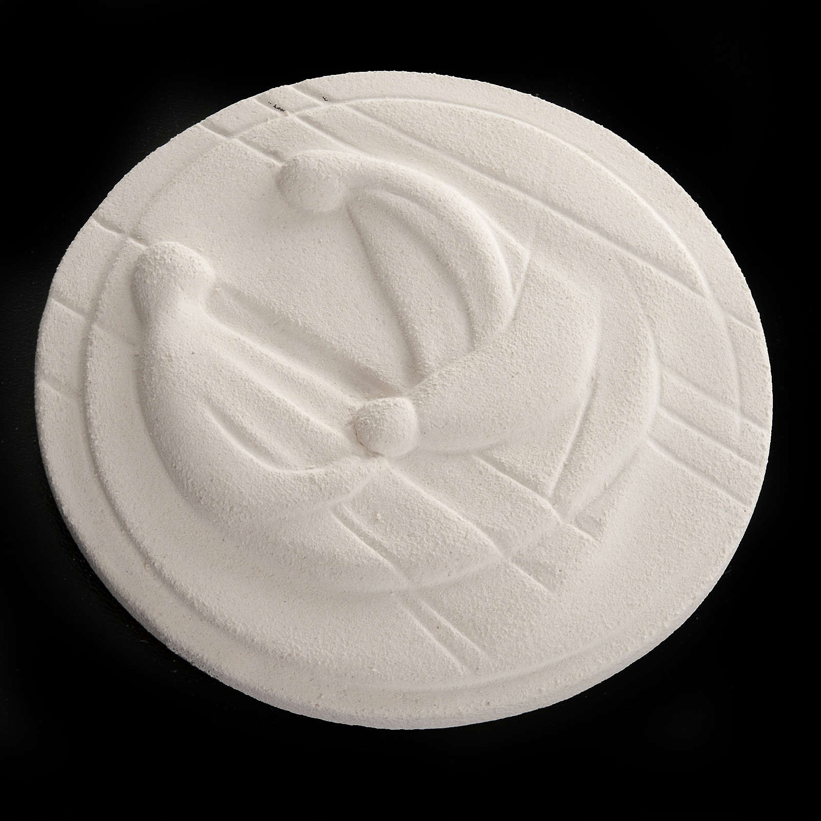 Round bas-relief, Nativity in fire clay 4