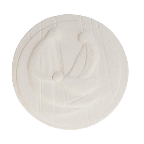 Round bas-relief, Nativity in fire clay 2