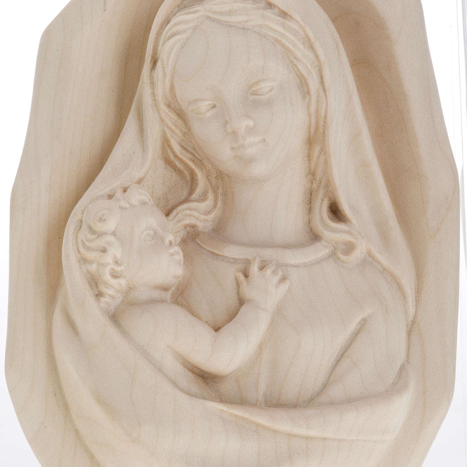 Bas relief Vierge à l'enfant bois naturel 4