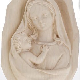 Bas relief Vierge à l'enfant bois naturel s5
