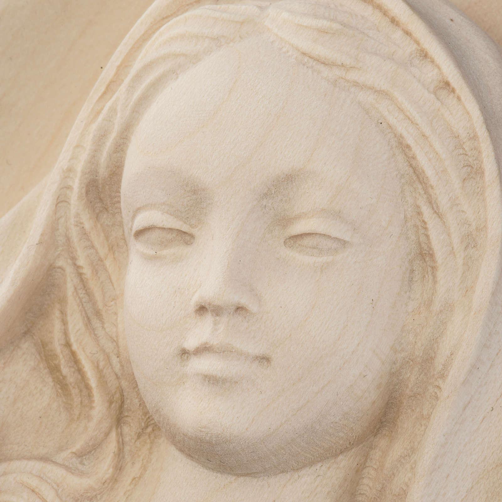 Bassorilievo Madonna da parete legno Val Gardena naturale 4
