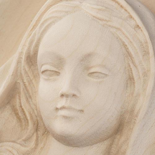Bassorilievo Madonna da parete legno Val Gardena naturale 3
