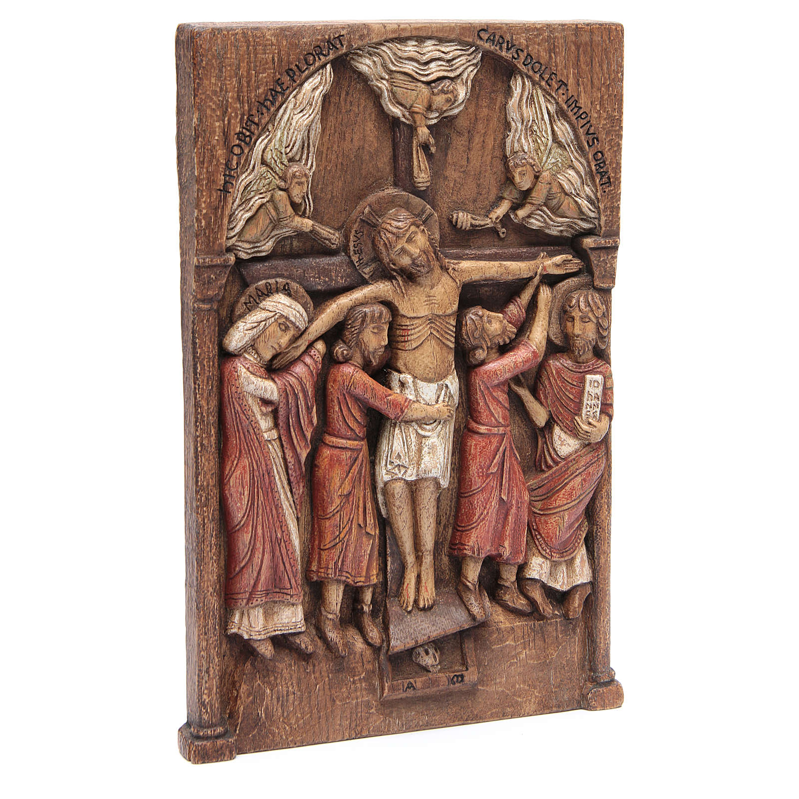 Bassorilievo Crocifissione di Silos 37,5x24,5 cm legno Bethléem 4