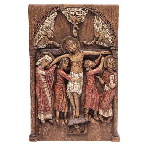 Bassorilievo Crocifissione di Silos 37,5x24,5 cm legno Bethléem 1