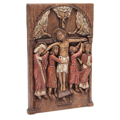 Bassorilievo Crocifissione di Silos 37,5x24,5 cm legno Bethléem 2