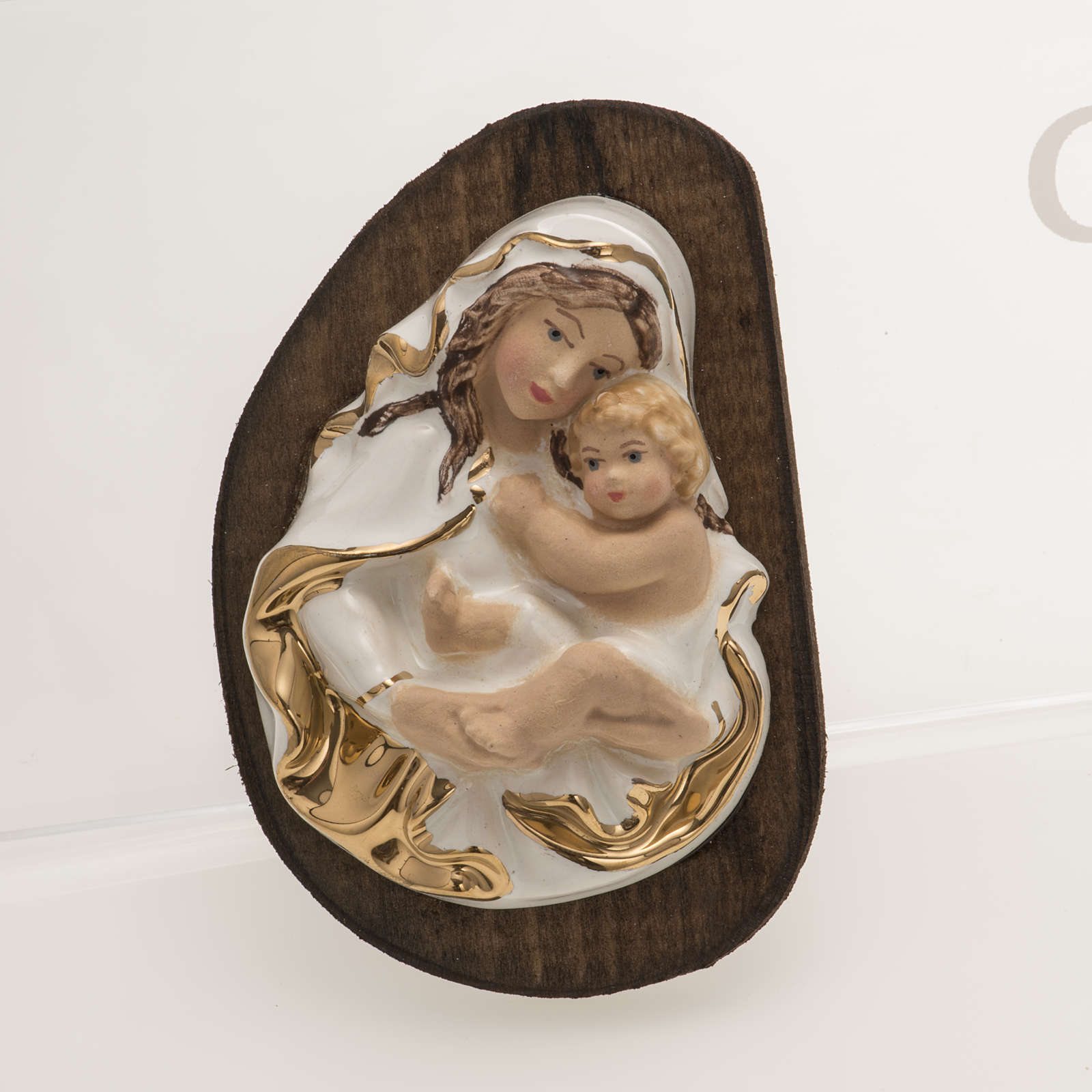 Bas-relief in ceramic, Our Lady with baby 4