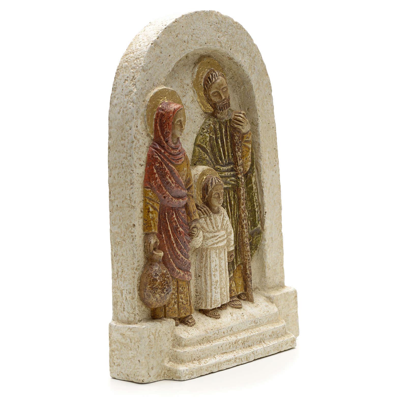 Bas relief Sainte Famille pierre Bethléem 18x13 4