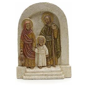 Bas reliefs en pierre: Bas relief Sainte Famille pierre Bethléem 18x13