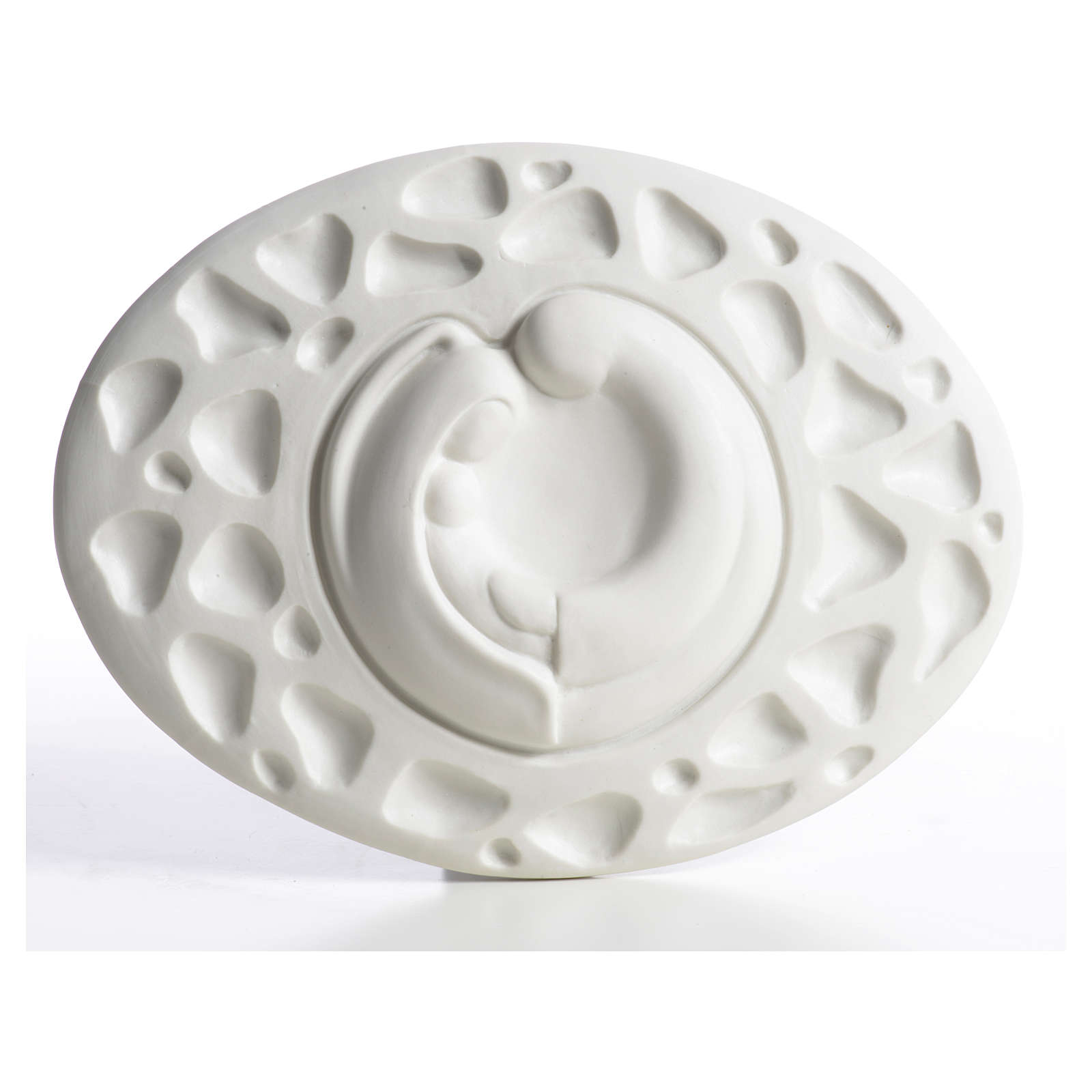 Holy Family bas-relief in porcelain by Francesco Pinton 15 cm 4