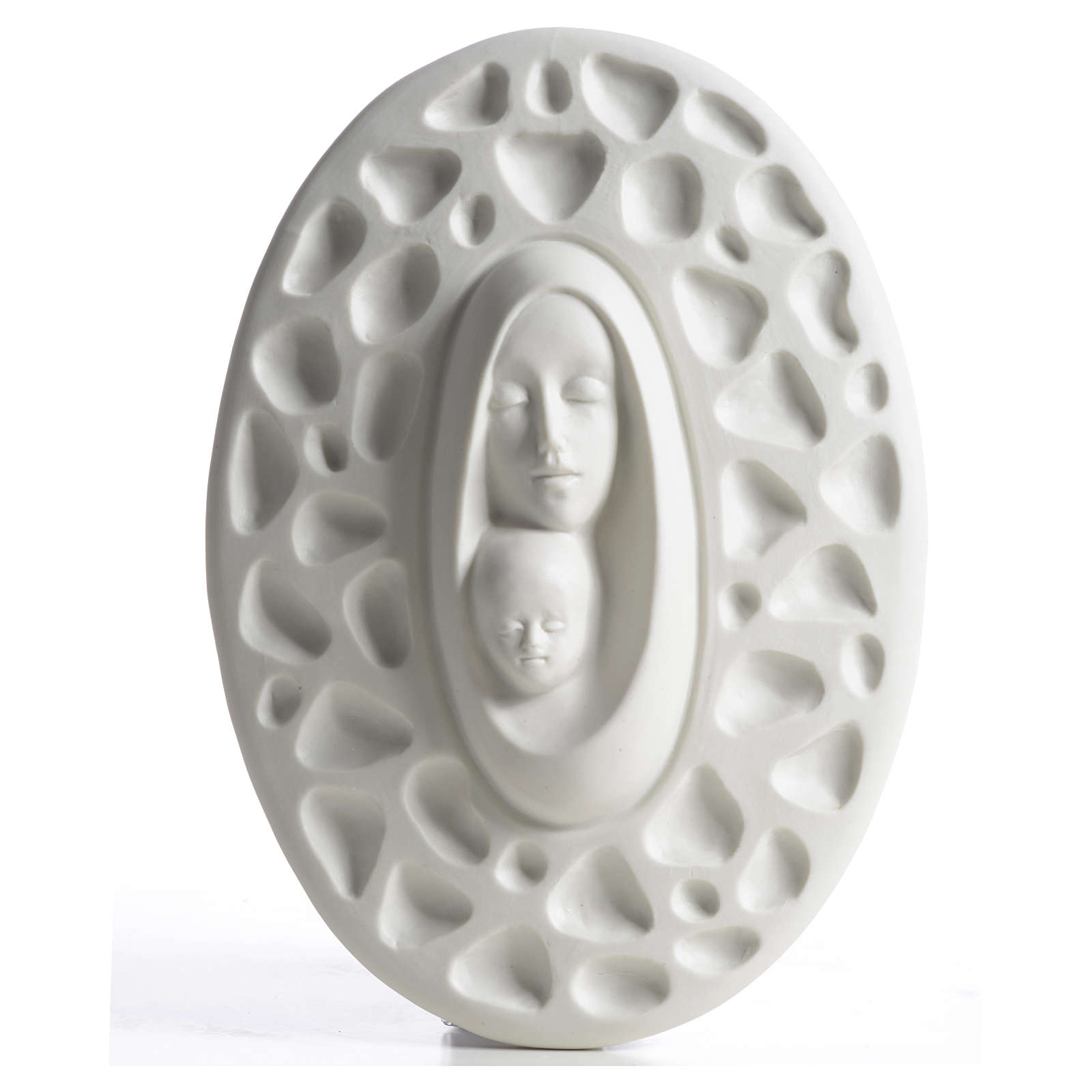 Our Lady with baby Jesus bas-relief in porcelain by F. Pinton 20 cm 4