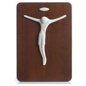 STOCK Bajorrelieve Pinton crucifijo porcelana sobre madera s1