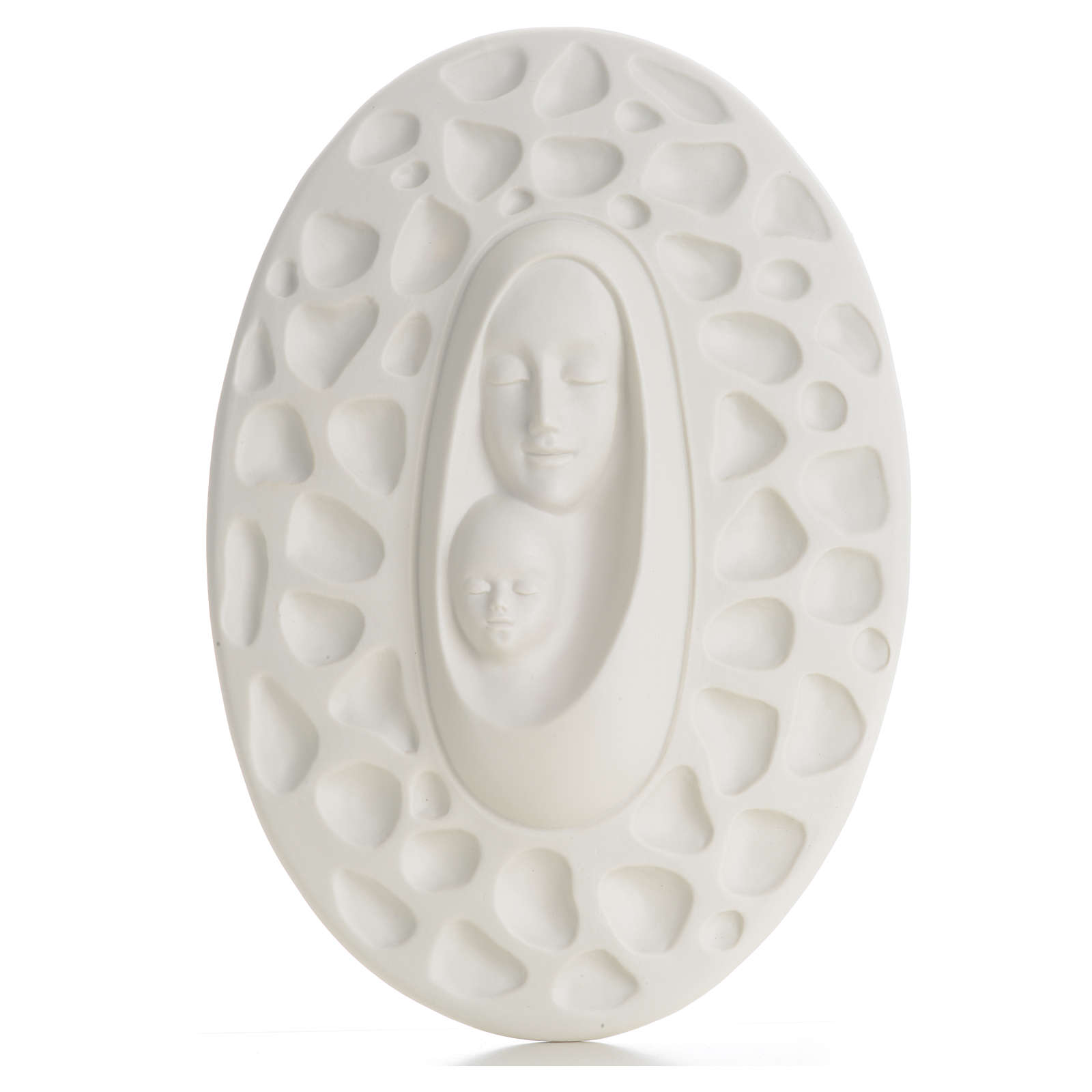 Bas-relief in porcelain, Pinton's Madonna with baby 30 cm 4