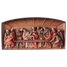 Bas-relief, Last Supper in painted Valgardena wood s1