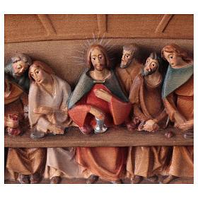Bas-relief, Last Supper in painted Valgardena wood s2