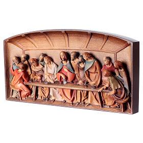 Rilievo Ultima Cena legno dipinto Valgardena s3