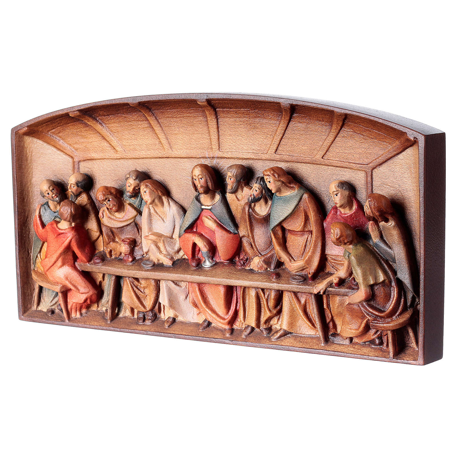 Bas-relief, Last Supper in painted Valgardena wood 4