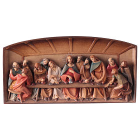 Bas-relief, Last Supper in painted Valgardena wood s1