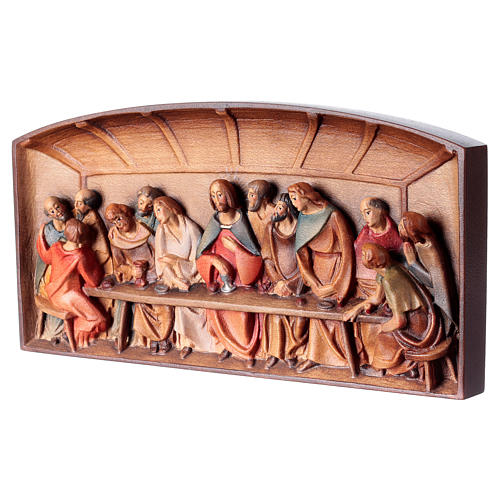 Bas-relief, Last Supper in painted Valgardena wood 3