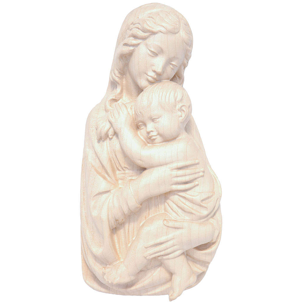 Rilievo Madonna con bimbo legno Valgardena naturale cerato 4