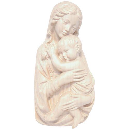 Rilievo Madonna con bimbo legno Valgardena naturale cerato 1