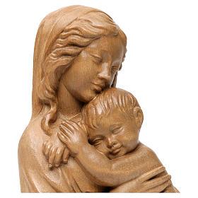 Rilievo Madonna con bimbo legno Valgardena patinato s2