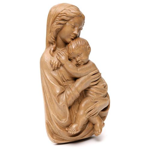 Rilievo Madonna con bimbo legno Valgardena patinato 4