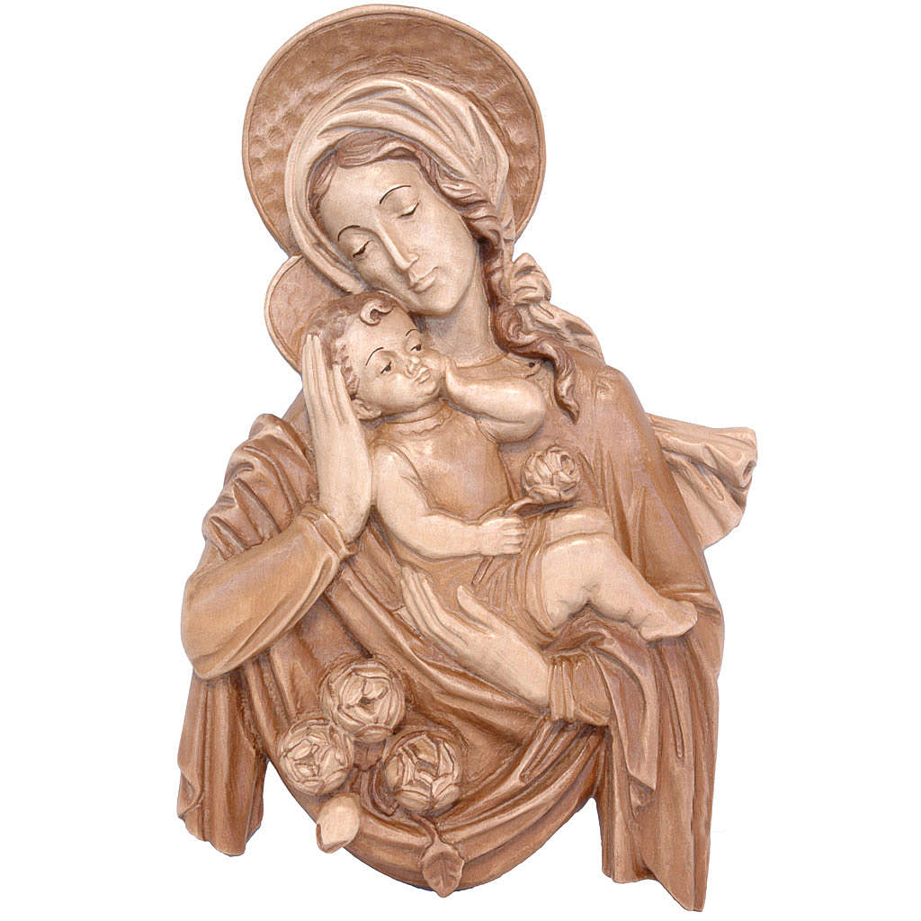 Rilievo Madonna bimbo e rose legno Valgardena multipatinato 4