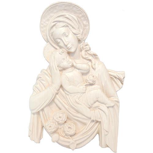 Relief Madone et Enfant Jésus bois naturel ciré Val Gardena 1