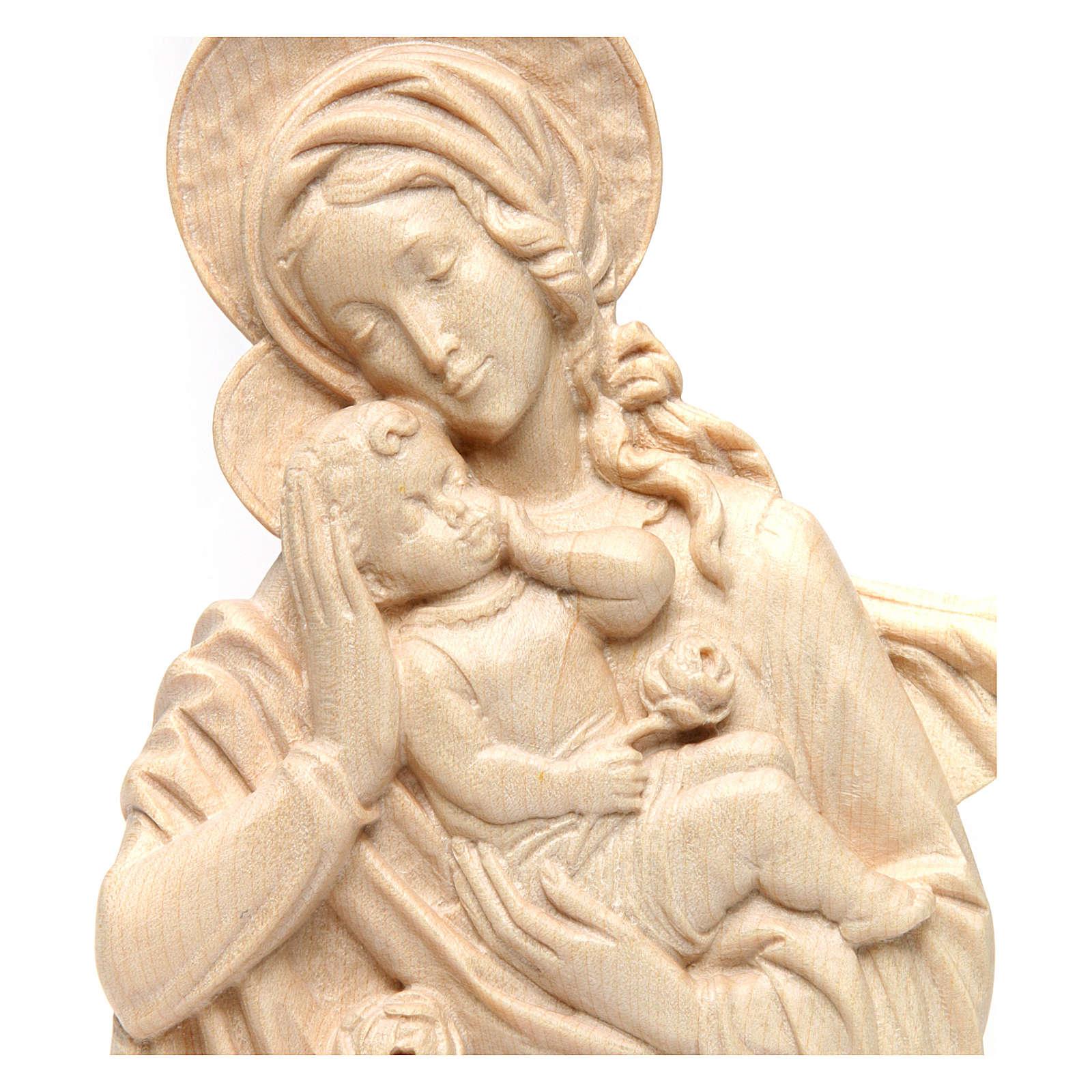 Rilievo Madonna bimbo e rose legno Valgardena naturale cerato 4