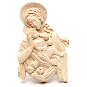 Rilievo Madonna bimbo e rose legno Valgardena naturale cerato s1