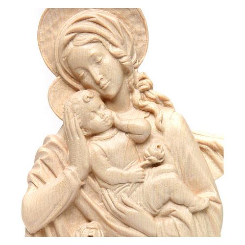 Rilievo Madonna bimbo e rose legno Valgardena naturale cerato 2