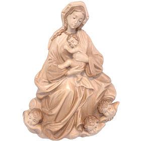 Rilievo Madonna bimbo barocca 20 cm legno Valgardena multipatina s1