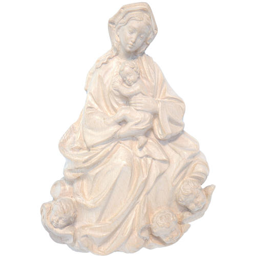 Rilievo Madonna bimbo barocca 20 cm legno Valgardena nat. cerato 1