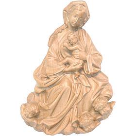 Rilievo Madonna bimbo barocca 20 cm legno Valgardena patinato s1
