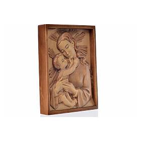 Tableau en relief Vierge et Enfant patiné multinuance Val Garden s2