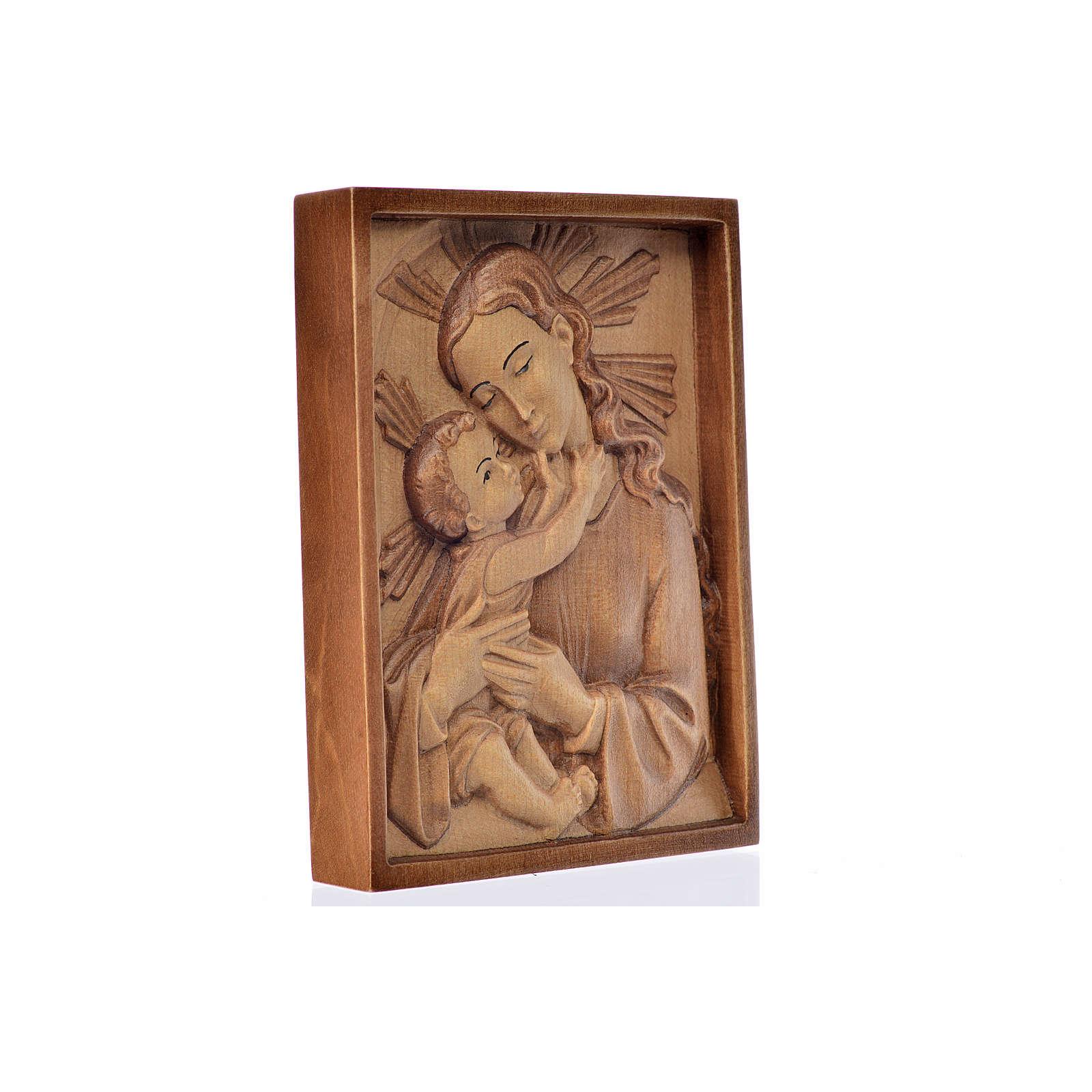 Rilievo Madonna con bambino legno Valgardena multipatinato 4