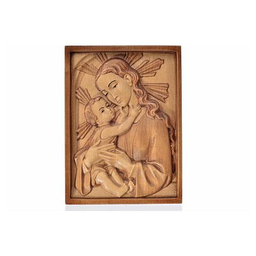 Rilievo Madonna con bambino legno Valgardena multipatinato 1