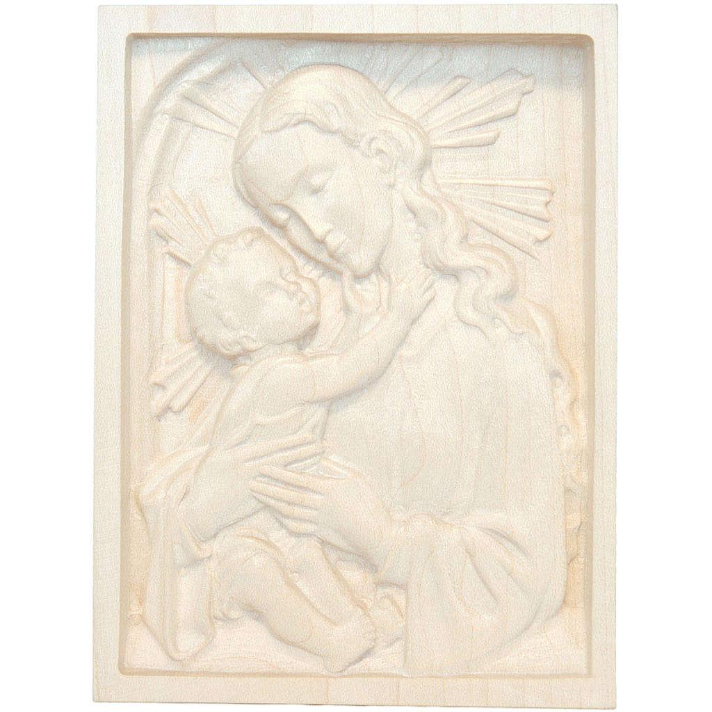 Tableau en relief Vierge et Enfant bois ciré Val Gardena 4