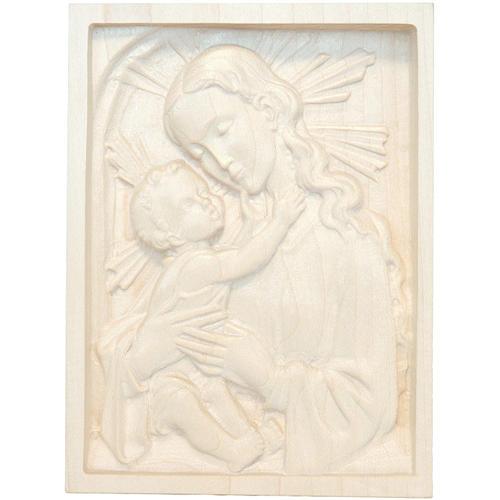 Tableau en relief Vierge et Enfant bois ciré Val Gardena 1
