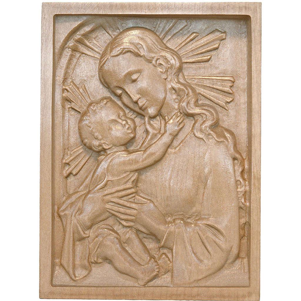 Tableau en relief Vierge et Enfant patiné Val Gardena 4