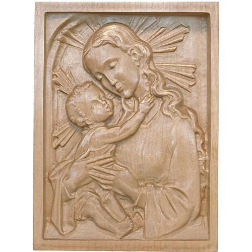Tableau en relief Vierge et Enfant patiné Val Gardena 1