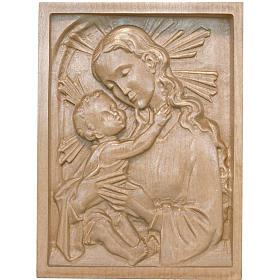 Rilievo Madonna con bambino legno Valgardena patinato s1